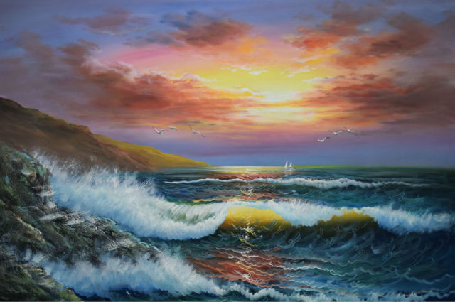 Handpainted Modern Beach Seascape Oil Painting On Canvas Sea Wave Sunshine Wall Picture