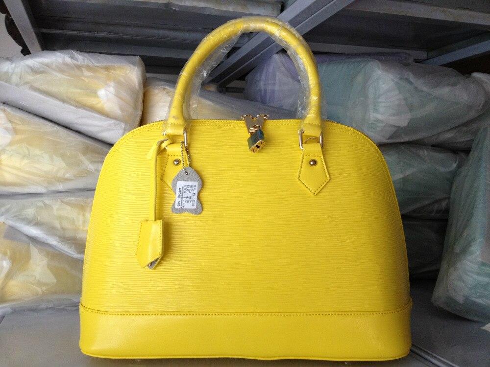 2015 Water Ripple Shell Bag Vintage Candy Color Genuine Leather Handbag Cowhide Women Shoulder Tote Bags Famous Brand Design - Shecret Studio store