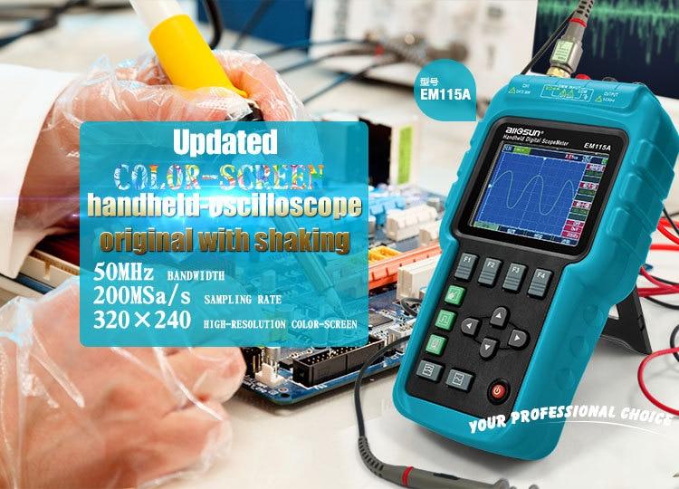 ALL SUN EM115A Handheld Oscillograph 3 In 1 Multifunction Oscilloscope 50MHZ Color Screen Scopemeter Single Channel