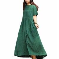 Maxi Dresses 30 Linen Plus Size Summer Maxi Dress Ladies Cotton Tunique Pleated Green White Long