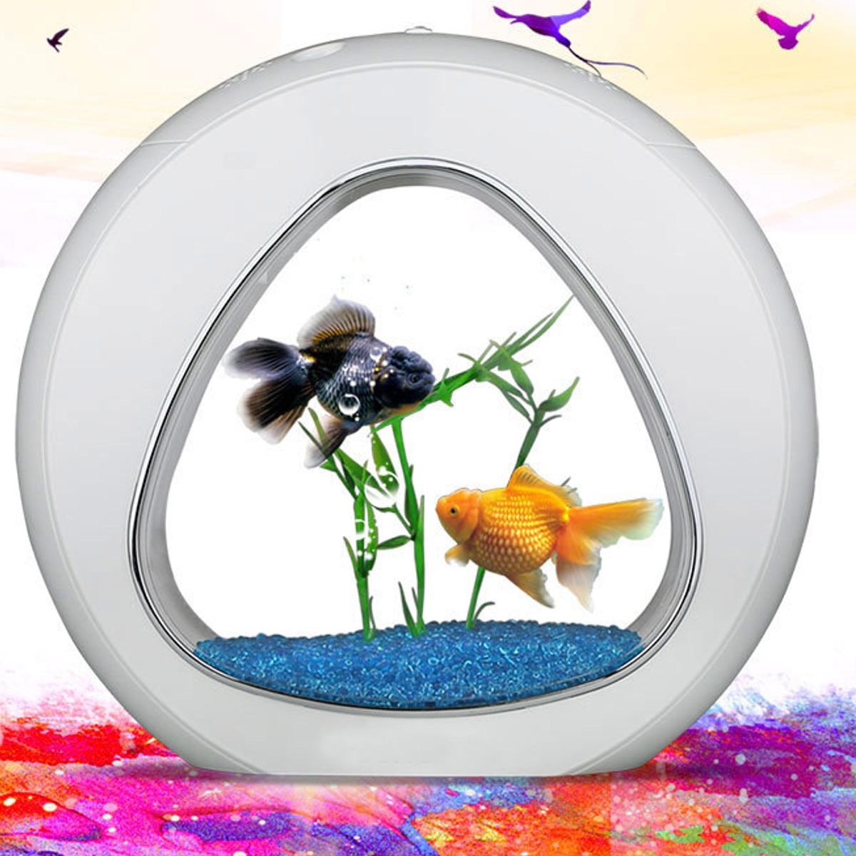Système de lumière LED écologie réservoir de poisson intégration filtre à eau pompe à oxygène Mini Aquarium maison bureau Aquarium Table décoration