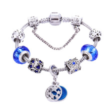 Fashion jewelry accessories ,  blue star beaded bracelet, zircon, glass beads snake bone chain,valentines day gifts