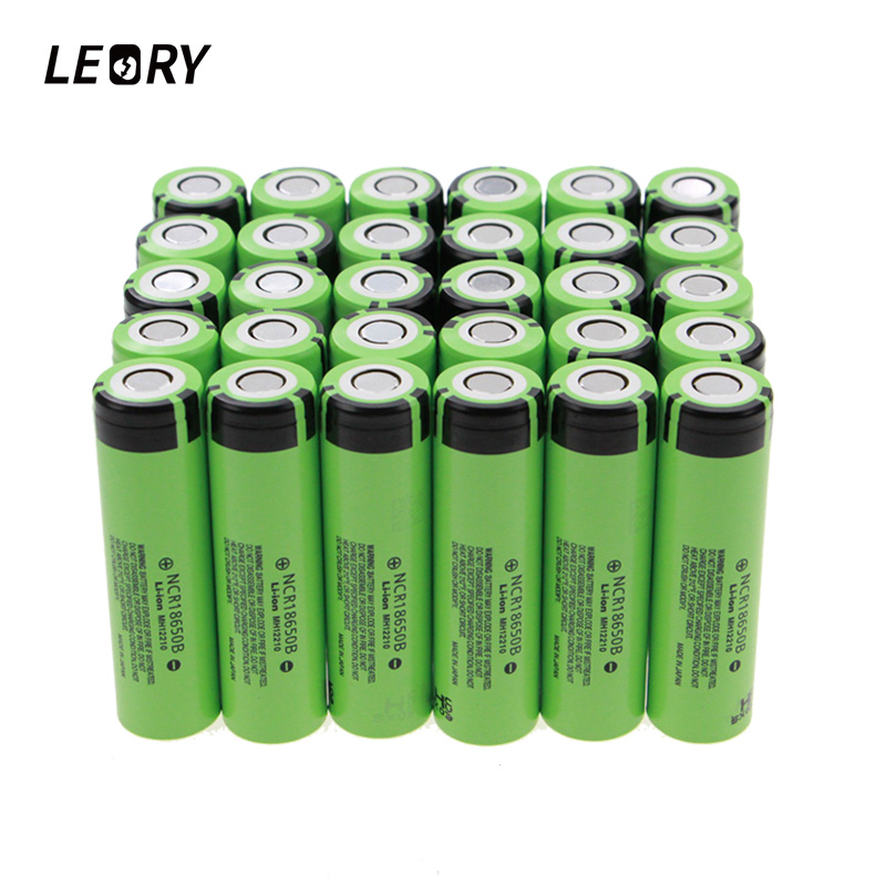 LEORY 30pcs/lot 3.7V 3400mAh NCR18650B 18650 Lithium li-ion Rechargeable Battery For Panasonic li-ion Flashlight Battery panasonic ncr18650bf super max 3 7v 3400mah rechargeable 18650 li ion battery red