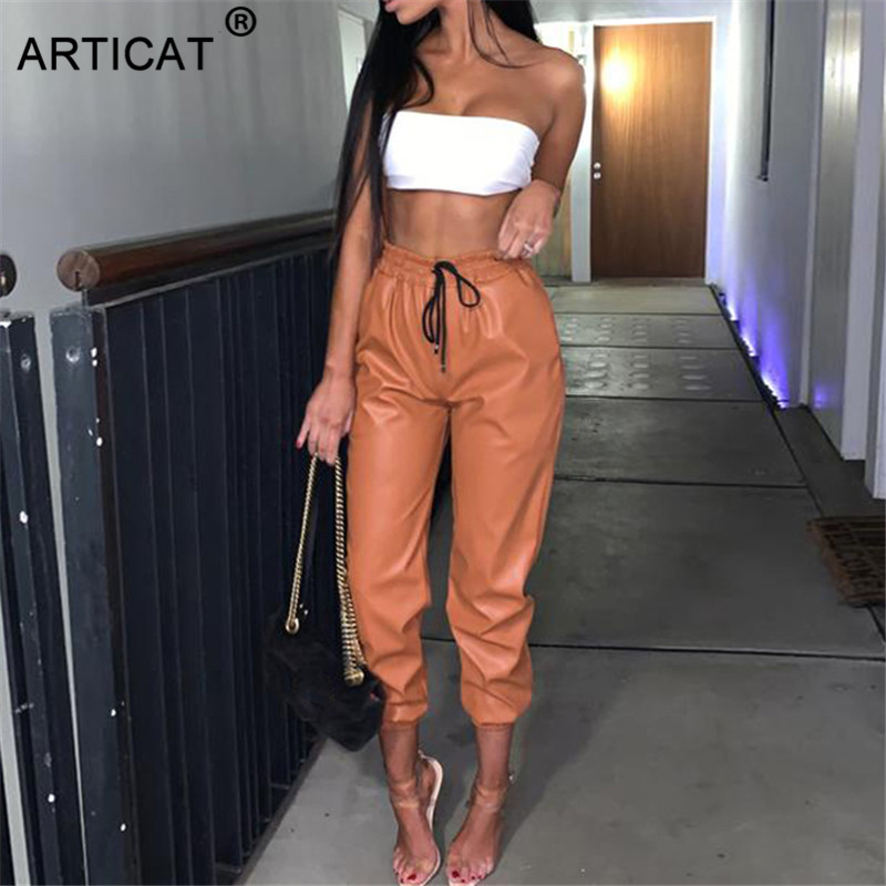 Articat 2019 New PU Leather Women Harem Pants Casual High Waist Elastic Faux Leather Trousers For Women Autumn Pants Streetwear