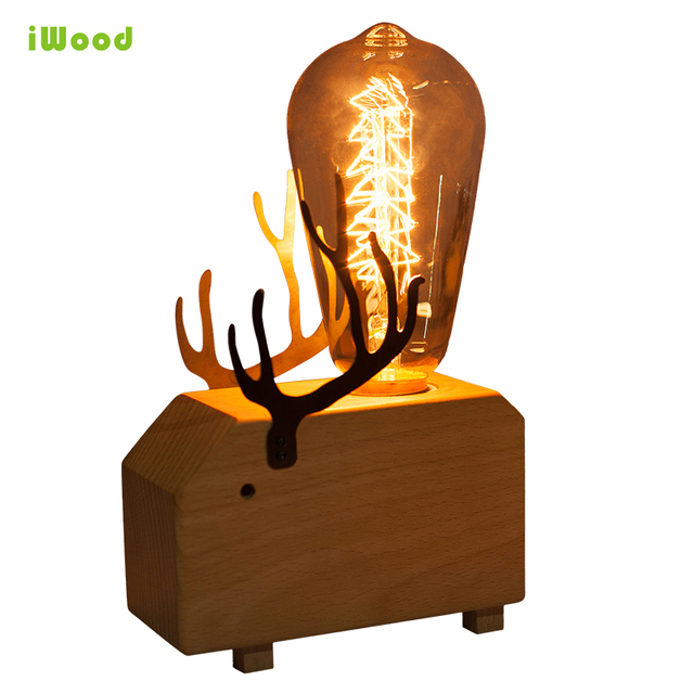 Modern Nordic Art Animal Dimmable Wooden Table Desk Lamps With Vintage 40w  E27 Edison Bulb For