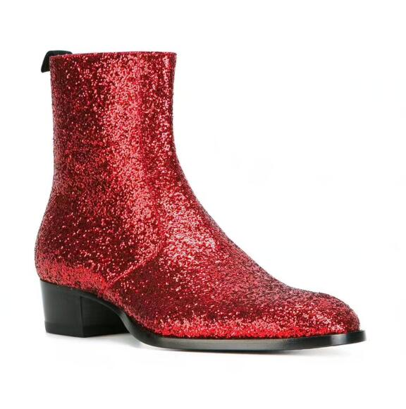df5015d6cab4d LANSHITINA Chelsea boots men Glitter Sequin boots British Style red ankle  boots high top low heel men boots