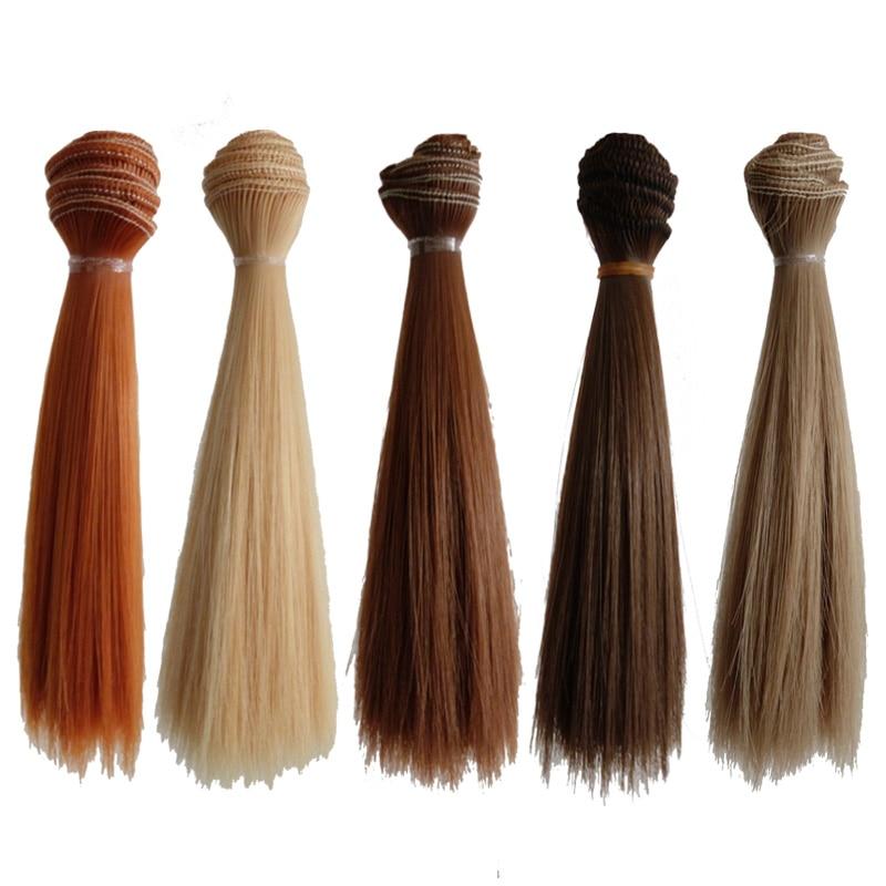 5PCS/LOT Hot Sale DIY BJD Hair Wig Accessories 15CM Synthetic Fiber Straight Hair For Doll 25cm 100cm doll wigs hair refires bjd hair black gold brown green straight wig thick hair for 1 3 1 4 bjd diy