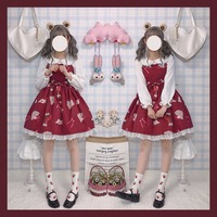 Summer Retro Sound of Music Printed Cute Fairytale JSK Lolita Suspender Dress Women's Sleeveless Bow Lace Trim Fancy Doll Dress