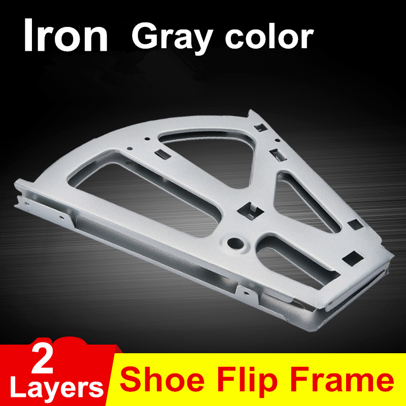 1Pair Iron Shoe Rack Flip Frame 2 Layers option Gray Color Hidden Hinge free shipping 3 layer shoe bucket rack accessories hardware shoe flip frame plate turnover bracket three hidden layer rack
