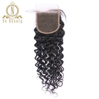 Na Beauty Hair Brazilian Deep Curly Lace Closure Remy Hair 4 4 Free Part Top Closure