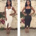 As mulheres se vestem 2016 nova chegada com decote em v Roupas de Verão das Mulheres da moda sexy Dividir vestido bandage