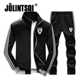 Jolintsai 2017 Top+Sweatpants 2PCS Tracksuit Men Plus Size 4XL Men Sportswear Patchwork Sleeve Hoody Pants Two Set