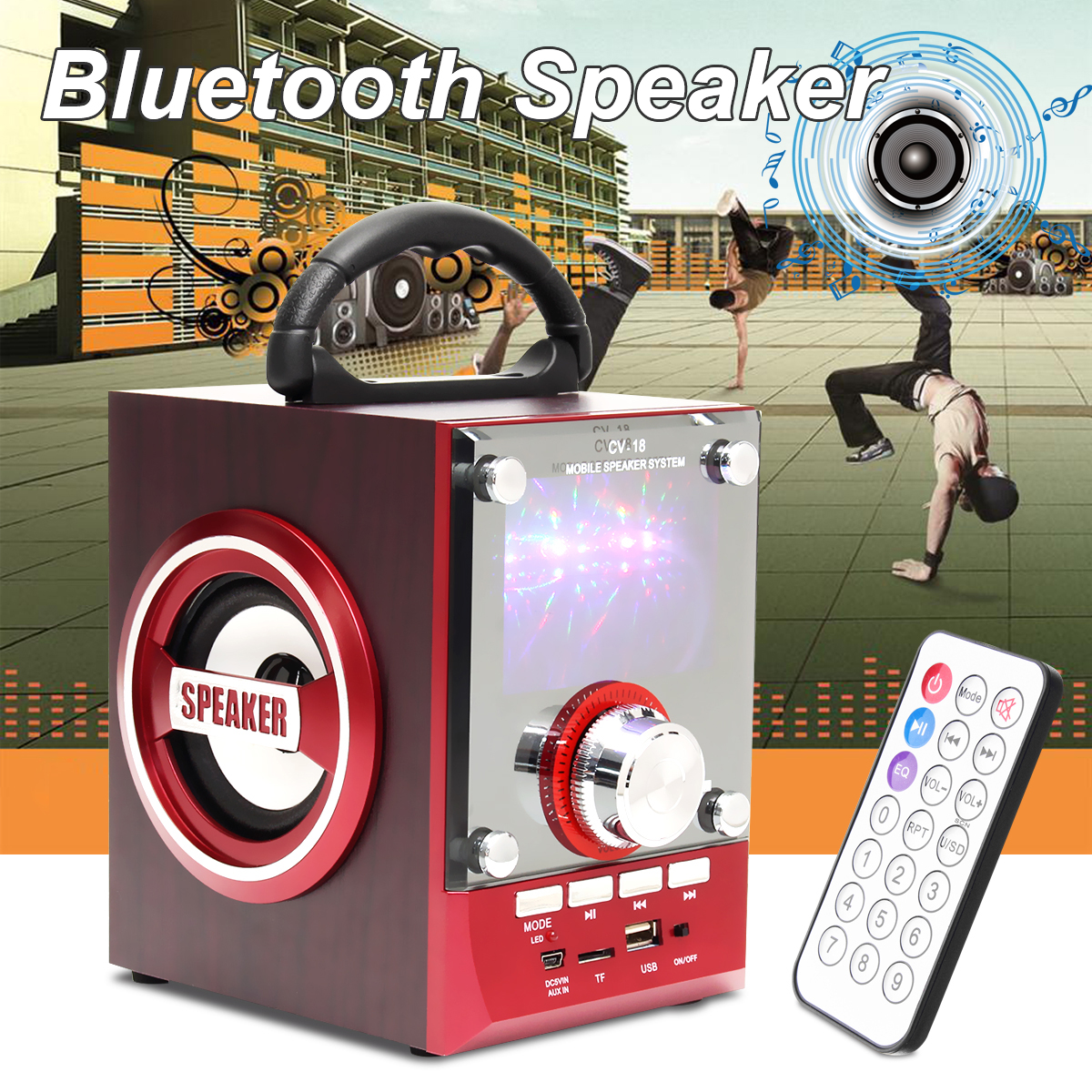 50W 220V LED Wireless Bluetooth Speaker FM AUX USB TF Card Loudspeaker Sound System With Remote Control For Outdoor Speakers getihu portable mini bluetooth speakers wireless hands free led speaker tf usb fm sound music for iphone x samsung mobile phone