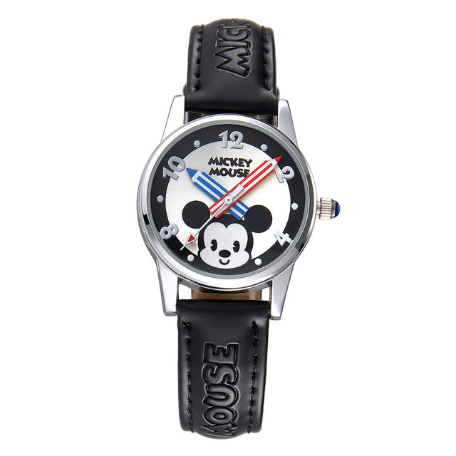 cartoon Children Watch Disney Brand Boys Girls  Waterproof leather wrist watch quartz Mickey Mouse Minnie kids clocks