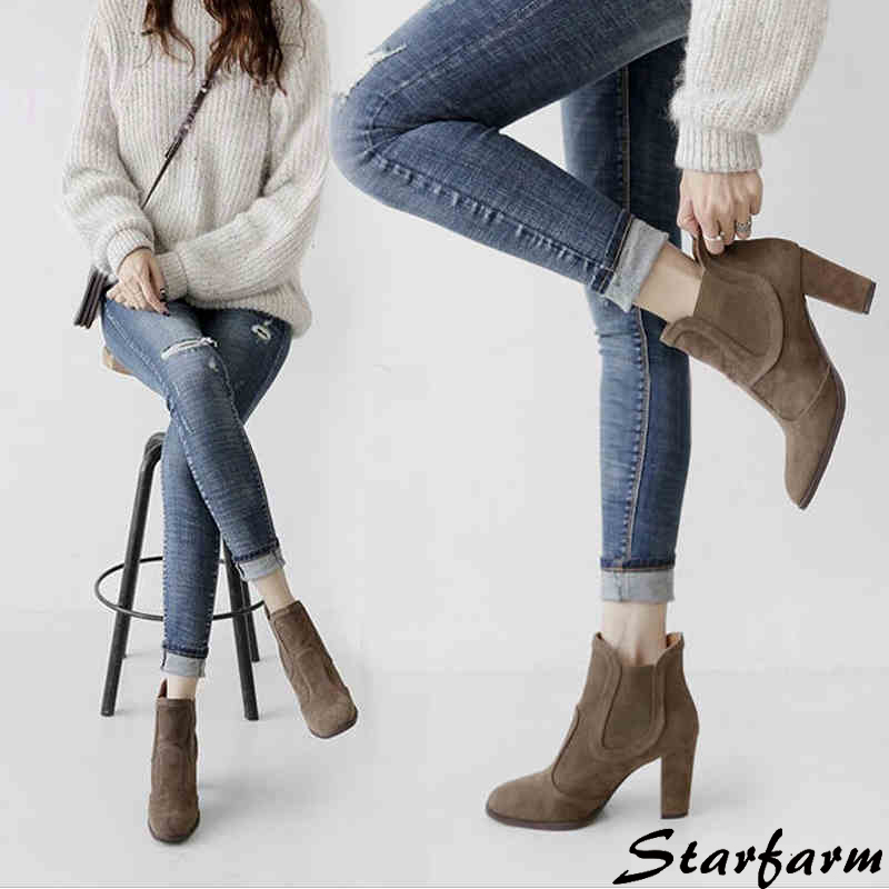 ФОТО 2017 Shoes Women Spring Chelsea Boots Suede High Heel Fleeces Shoes Ankle Elastic Band Fashion Black Khaki Femmes Boots SFMB013