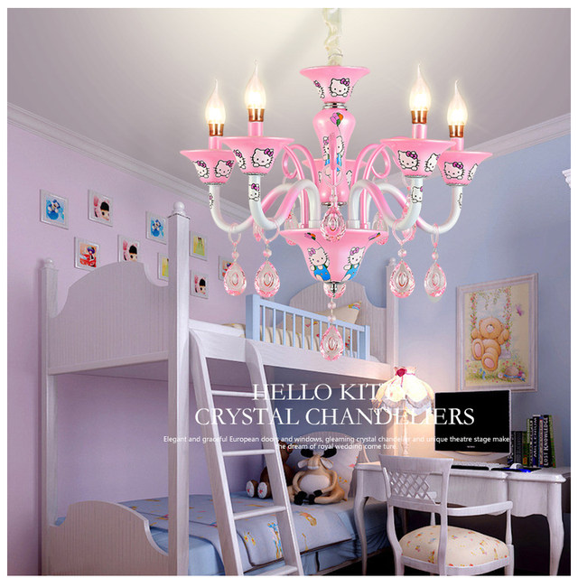 Gmtm New Design Modern Little Living Room Chandelier Bedroom Lamp Lighting Pink Hello Kitty Crystal Re E14 Candle Light