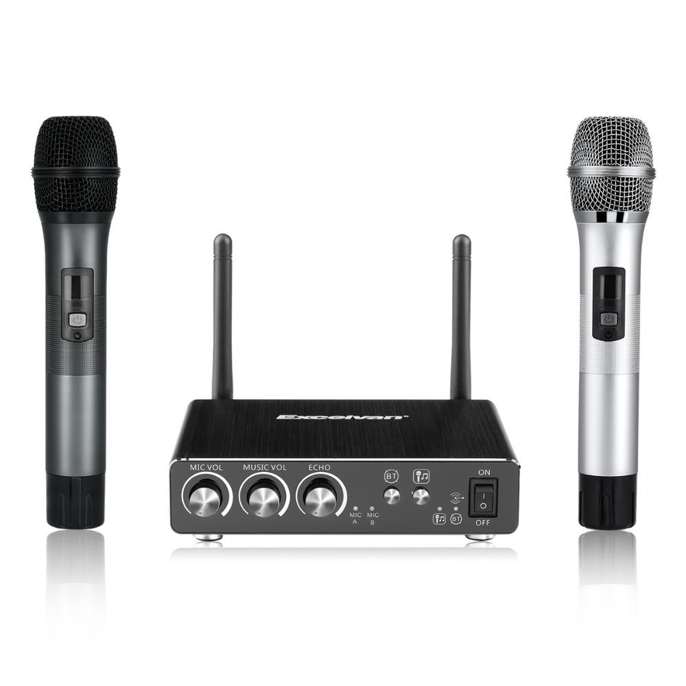 excelvan k28 dual wireless microphones with receiver box. Black Bedroom Furniture Sets. Home Design Ideas