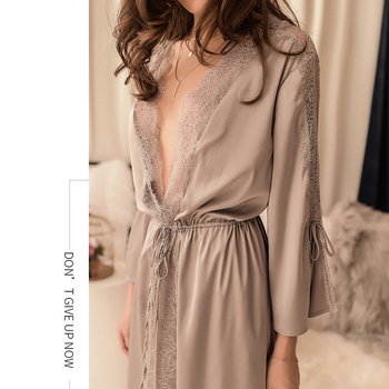 Bridesmaid Short Satin Bride Robe Lace Sleepwear