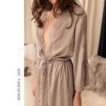 Peignoir court en Satin en dentelle, Kimono, vêtements de nuit pour femmes, été, Lingerie, pour la maison