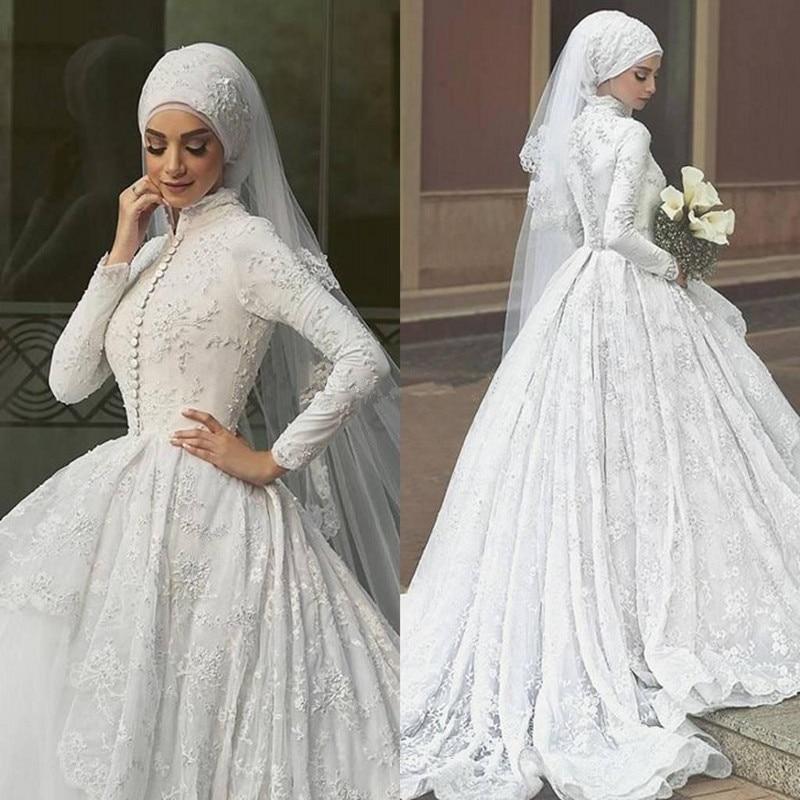 High Quality A Line White Chiffon Bridal Gowns Long Sleeve Muslim