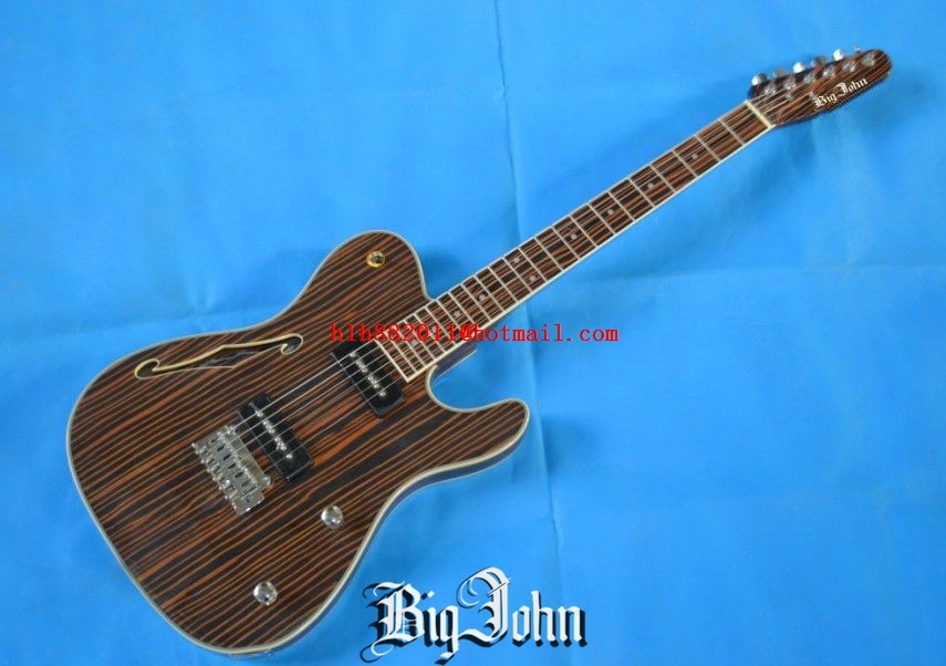 free shipping new Big John single wave  electric  guitar with zebra wood body and neck chrome  hardware F-1524 2016 shanghai guitar show new body acrylic guitar real guitar photos free shipping
