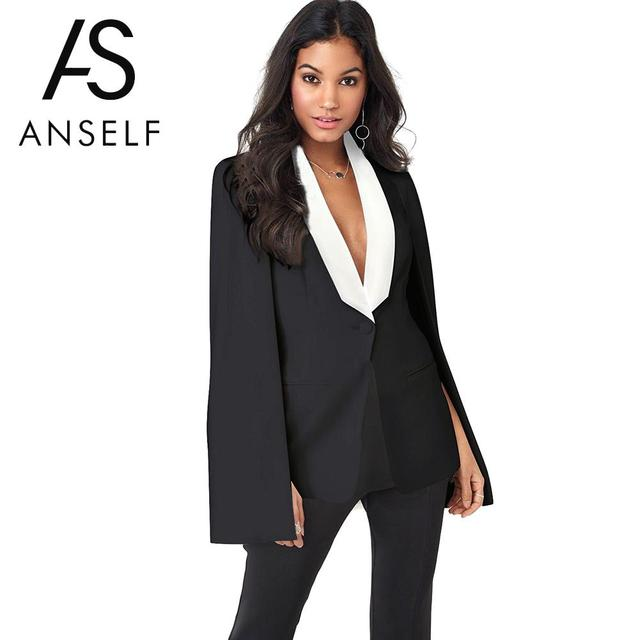 e9cbc87cba726 Anself New Arrival Women Cape Blazer Fashion White Black V Neck Elegant Top  2019 Spring Women Work Wear Korean Style Blazer