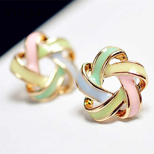 2016 New Fashion Novel Jewelry Color Stripe Earrings For Women Trendy Brincos Pequenos Stud Earrings E259