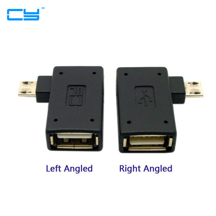 2pcs 90 Degree Left & Right Angled Micro USB 2.0 OTG Host Adapter Connector Adaptor with USB Power for Tablet 90 degree left