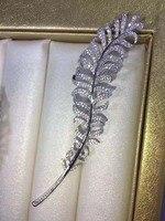 Qi xuan_брошь jewelry_S925 посеребренные белые золото инкрустированные циркон брошь перо Мужчины и женские булавки для воротника пряжка