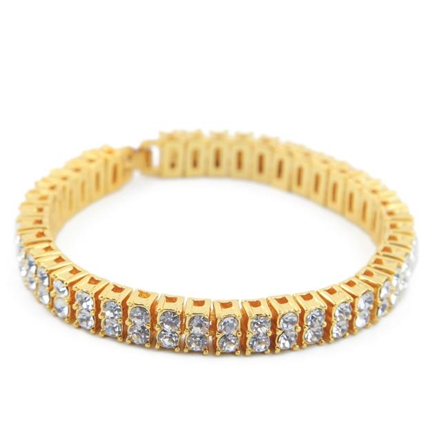 8mm Jewelry Gifts Bling Iced Out 2 Row AAA Rhinestone Bracelets Women Man  Golden Rhinestones Hip Hop Tennis Chain Bracelet Men 05a8b42d75a4