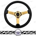 Kyostar-350mm Universal Wooden Car Steering Wheel Deep Corn  Gold Spoke Steering Wheel  Black