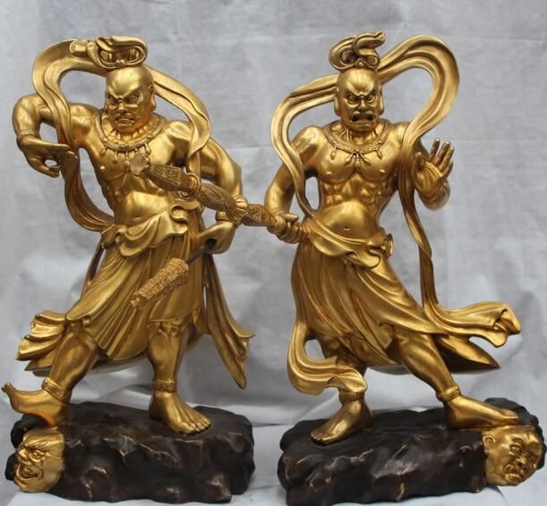 Jp S0524 Japan Japanese Bronze 24k Gold Door Deity Deva