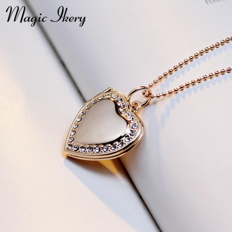 Magic Ikery Memori gambar terapung loket Kalung Rose Gold Warna Heart - Perhiasan fesyen - Foto 2