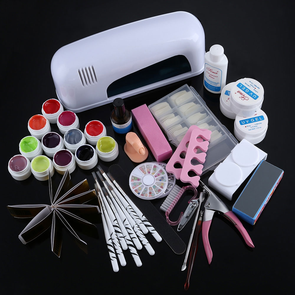 9W Professional and Complete UV LED Nail Lamp Dryer Set Cure Electric Lamp Dryer UV Gel Nail Art Tools 40pcs Full Set longevita uv cure eco
