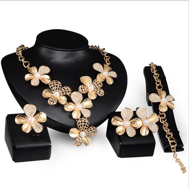 Flor Circón Cúbico Hipoalergénico festa Collar Pendientes Pulseras Anillos de perlas africanas sistemas de la joyería para las mujeres casamento S0231