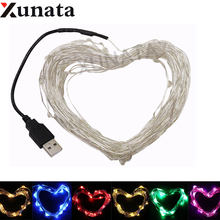 DC 5V USB LED String Lights 5M 50Leds Silver Wire Waterproof Fairy Light Garland For Home Christmas Wedding Party Decoration(China)