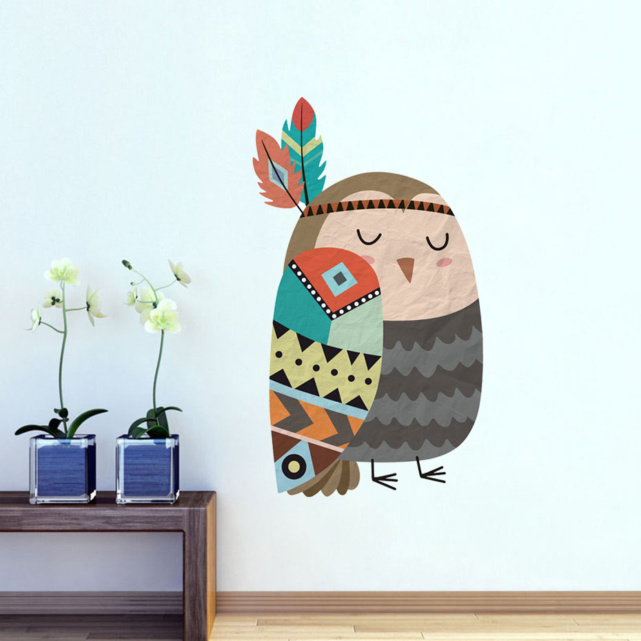 Creative Tribe Wind Animal Owl Wall Stickers Waterproof Art Mural For Kids Room Sofa TV Wall Decor Personalized Home Decorat ...