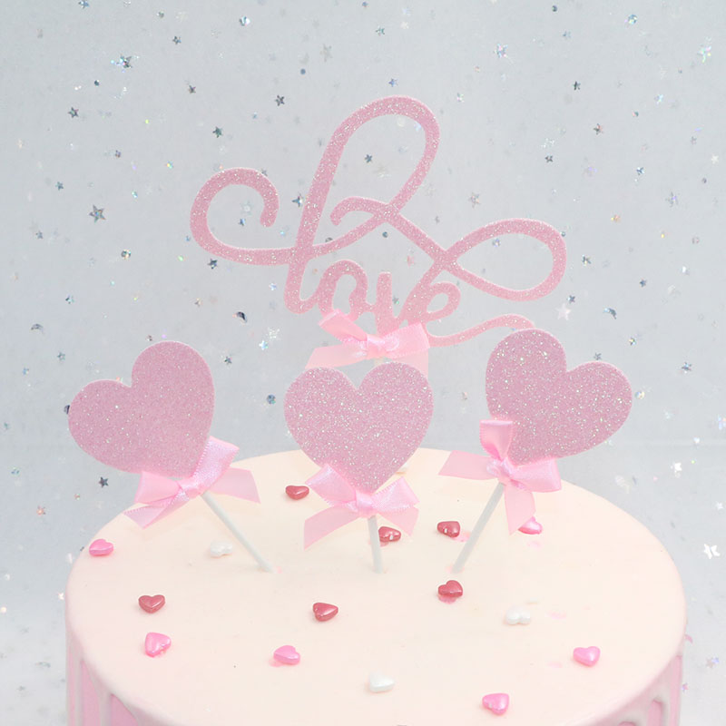 4pcs/lot Pink LOVE Cake Topper Cupcake decoration Party Birthday Valentines Day Decoration Wedding Supplies