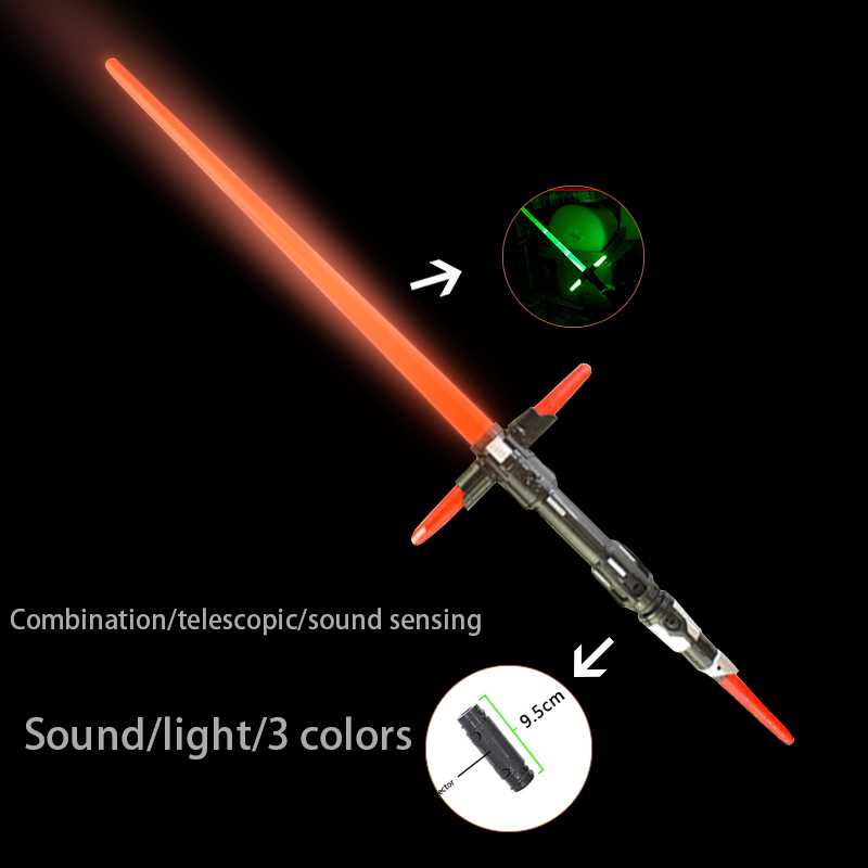 2 Pieces Sound Lightsaber Cosplay Props Flashing Sword For Kids Double Light Saber Toy Sword For Boys Gifts Combination Toys