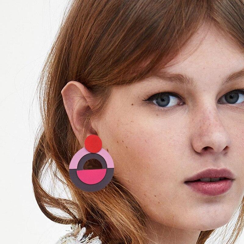 Best lady Round Multi Color Cute Women Statement Stud Earrings for Women Fashion Pinky Color Trendy Earring Wedding Wholesale