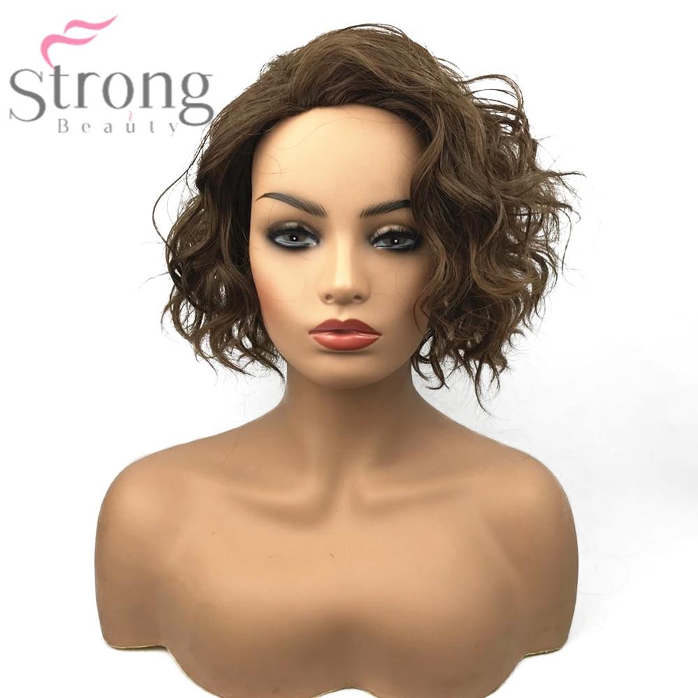Strongbeauty Для женщин синтетический парик монолитным каштановые волосы средней длины естественно вьющиеся Искусственные парики