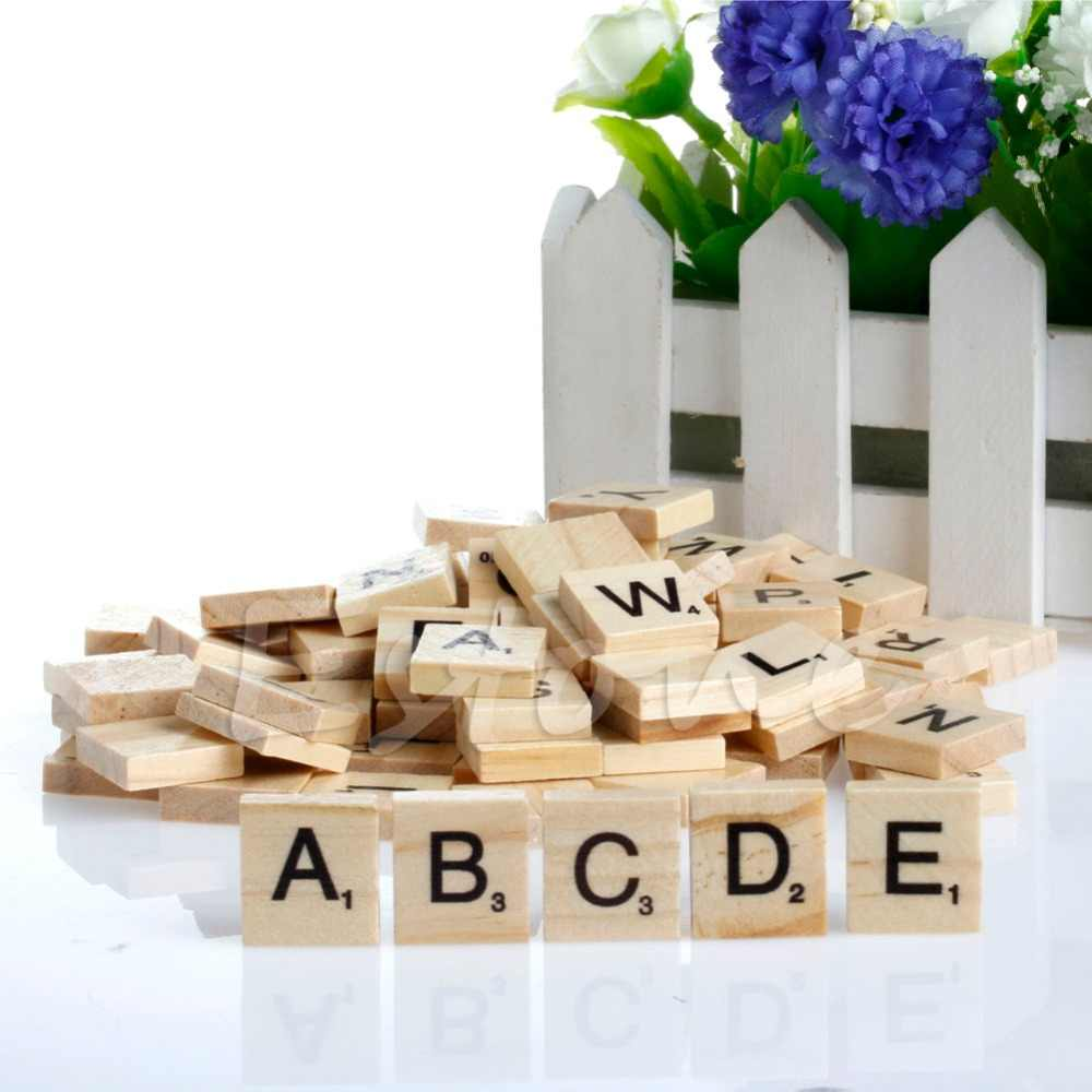 100 Wooden Alphabet Scrabble Tiles Black Letters & Numbers For Crafts Wood O26