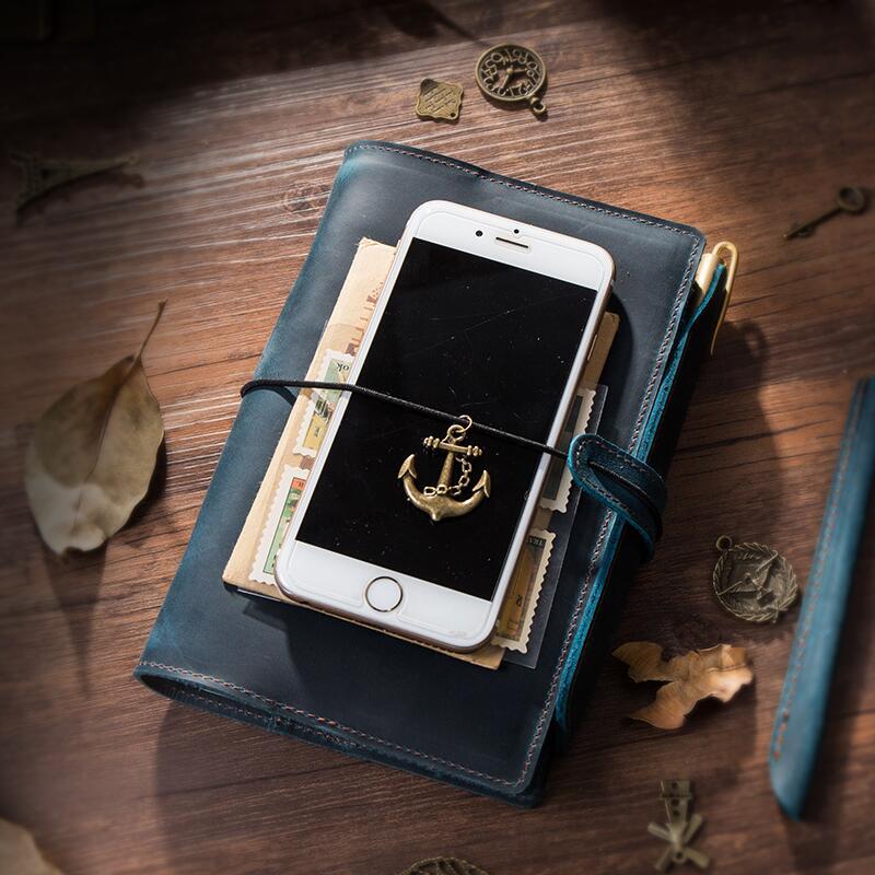 A5 logo en cuir véritable carnet de notes spirale feuilles mobiles liant bureau voyageurs Mini bloc-notes bloc-notes avec anneaux cahiers