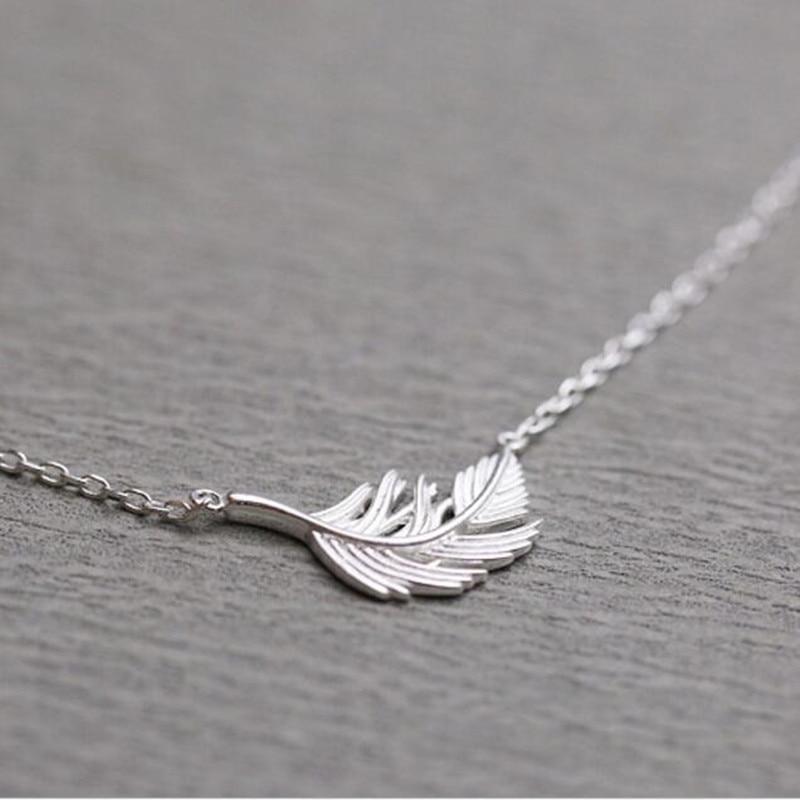 90409af4845f Nueva llegada personalidad de la moda 925 joyas de plata esterlina popular  femenina Plumas clavícula cadena COLLAR COLGANTE h186