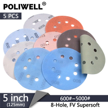 POLIWELL 5PCS 5 Inch 8-Holes FV Soft Superfine Sanding Discs 125mm 600~5000 Grit Wet and Dry Waterproof Sandpaper Abrasive Paper