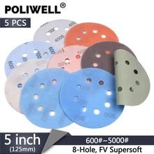 POLIWELL 5PCS 5 Inch 8-Holes FV Soft Superfine Sanding Discs 125mm 600~5000 Grit Wet and Dry Waterproof Sandpaper Abrasive Paper стоимость