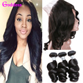 360 Lace Frontal With Bundles Brazilian Loose Wave Hair 3 Bundles With 360 Full Lace Frontal Closure Brazilian Loose Wave Hair