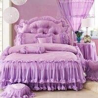 Фиолетовые кружева принцесса свадьбные постельные комплекты покрывало 4 шт. жаккарда Атласные оборки пододеяльник роскошный хлопок постел