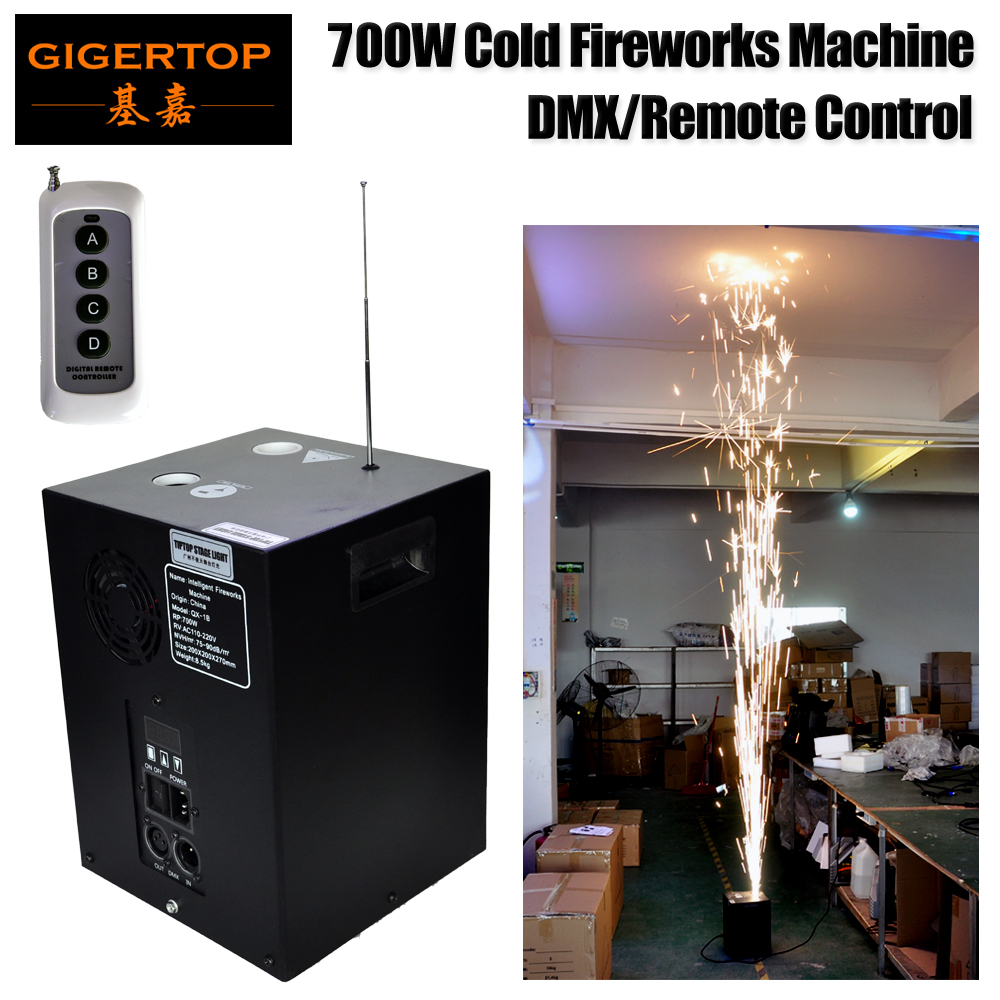 Gigertop 700 W fría máquina de fuegos artificiales DMX512/Wiereless Control remoto Sparkler Jet equipo pantalla LCD ajuste de dirección TP-T700W