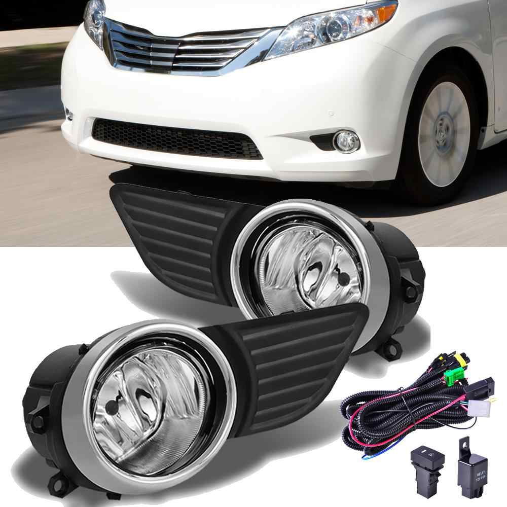For Toyota Sienna 2011-2017 Clear Glass Bumper Fog Lights Grill Lamp wire harness Switch+Bulb
